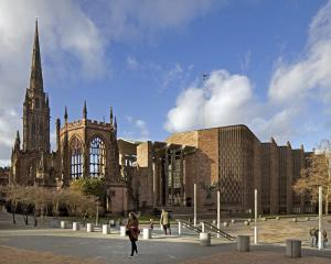 Country: United Kingdom Site: Ruins of the former Cathedral Church of St. Michael, Coventry Caption: View from distance Image Date: November 2011 Photographer: Andy Marshall/World Monuments Fund