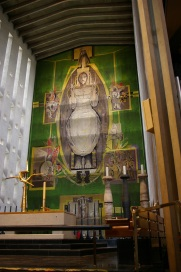 The famous tapestry of Christ in Coventry Cathedral.